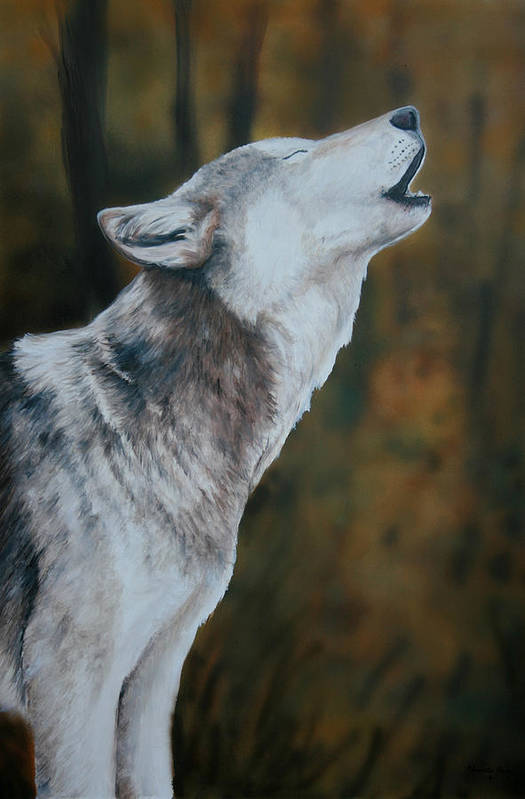 Wolf Art Print featuring the painting Call Of The Wild by Charlotte Yealey