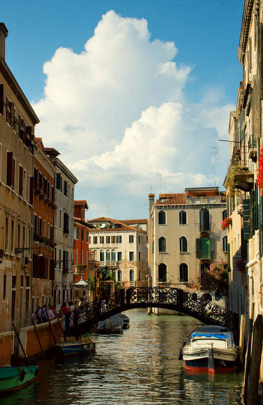 Venice Art Print featuring the photograph Canal With Iron Bridge In Venice by Michael Henderson