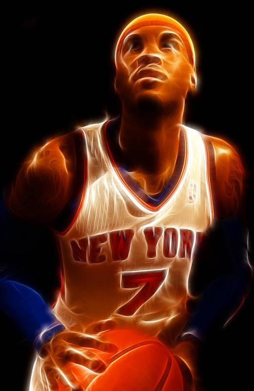 Lee Dos Santos Art Print featuring the photograph Carmelo Anthony - New York Nicks - Basketball - Mello by Lee Dos Santos