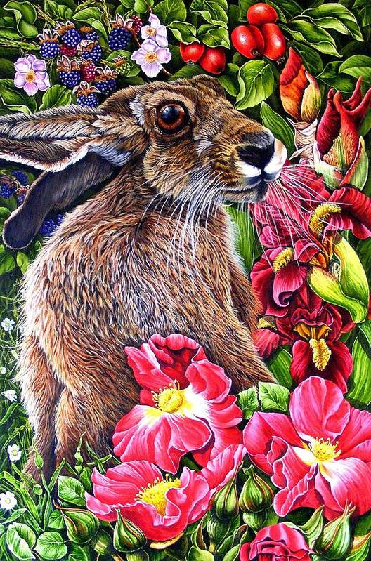 Hare Art Print featuring the painting Celibration by Donald Dean