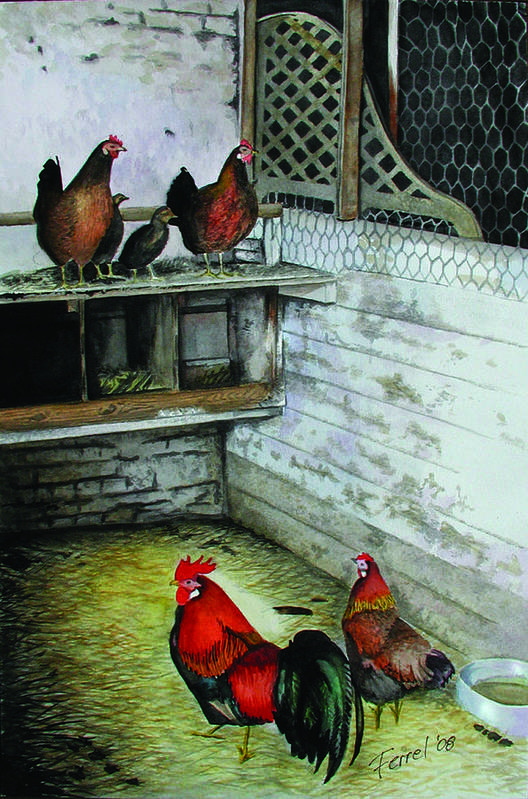 Far Art Print featuring the painting Chicken Coop by Ferrel Cordle