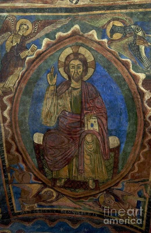 Art Roman Print featuring the photograph Christ Pantocrator Fresco. Basilica Saint-julien. Brioude. Haute Loire. Auvergne. France. by Bernard Jaubert