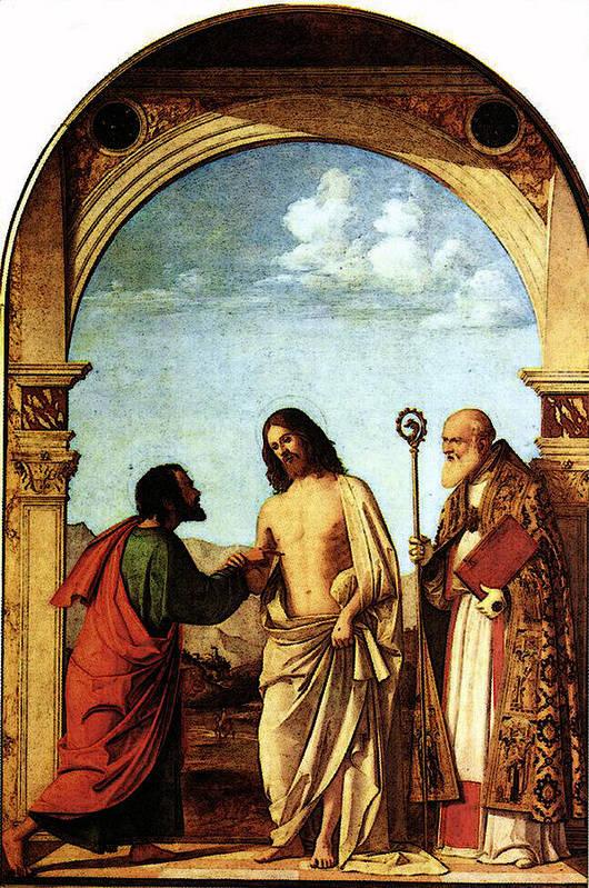 Cima Art Print featuring the digital art Cima Da Conegliano The Incredulity Of St Thomas With St Magno Vescovo by PixBreak Art