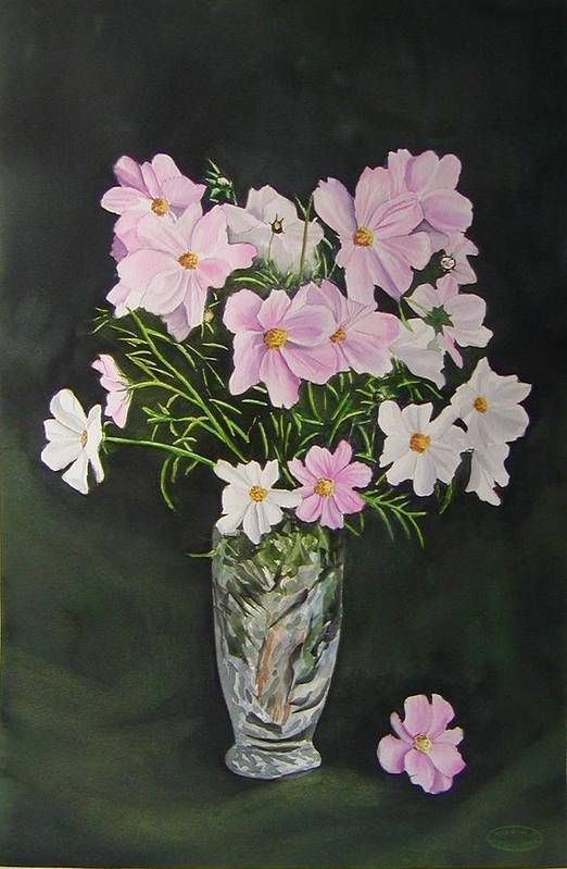 Floral Art Print featuring the painting Cosmos And Crystal by Sharon Steinhaus