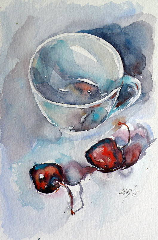Still Life Art Print featuring the painting Cup With Cherry by Kovacs Anna Brigitta