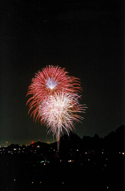 Fireworks Art Print featuring the photograph Desert Fireworks by Cathy Franklin