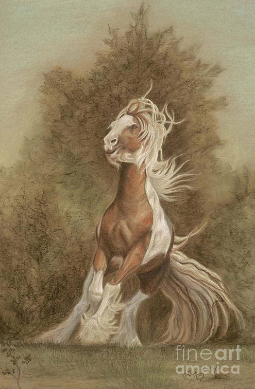 Horse Art Print featuring the painting Devon The Gypsy Horse by Gail Finger