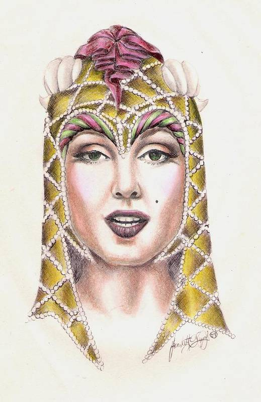 Face Art Print featuring the drawing Dragon Fire Lust by Scarlett Royal