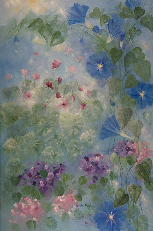 Floral Art Print featuring the painting Early Morning Glory by Linda Rauch