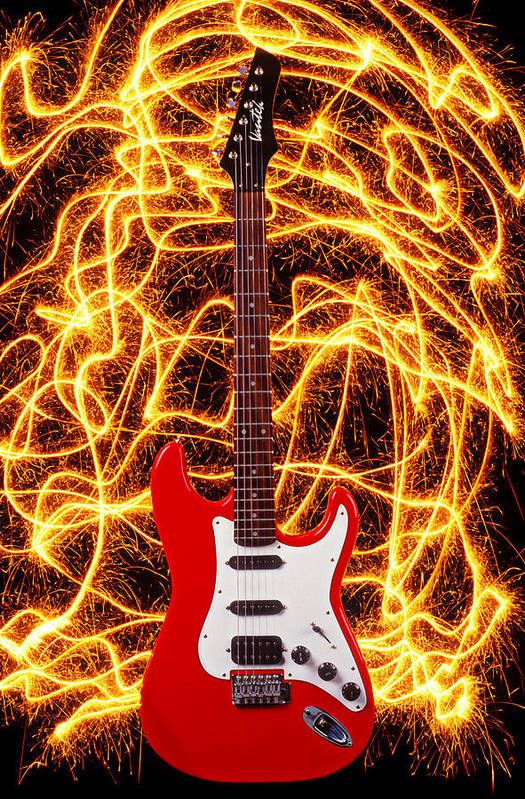 Electric Guitar Sparks Art Print featuring the photograph Electric Guitar With Sparks by Garry Gay