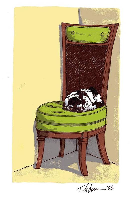 Cat Art Print featuring the drawing Ernie And Green Chair by Tobey Anderson