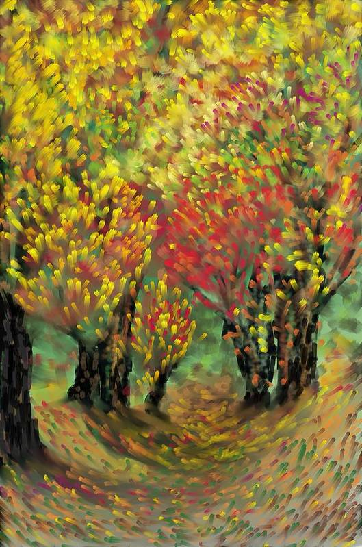 Landscape Art Print featuring the painting Fall Impression by Harry Dusenberg