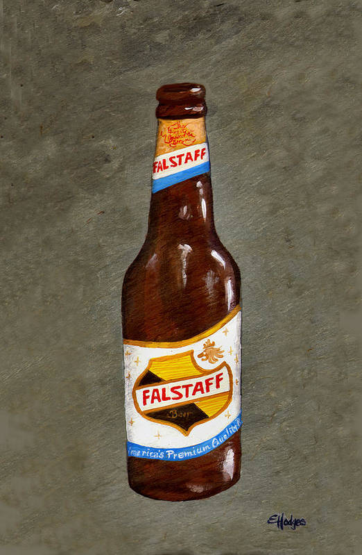 Beer Art Print featuring the painting Falstaff Beer Bottle by Elaine Hodges