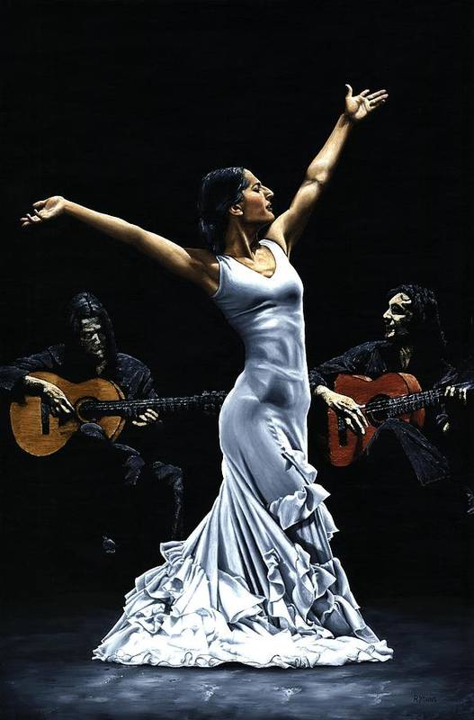 Flamenco Art Print featuring the painting Finale Del Funcionamiento Del Flamenco by Richard Young