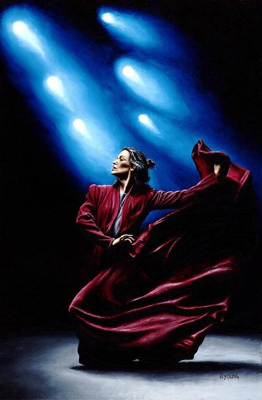 Original Oil Painting Produced On Stretched 91cm X 61cm Canvas Using A Knife Art Print featuring the painting Flamenco Performance by Richard Young