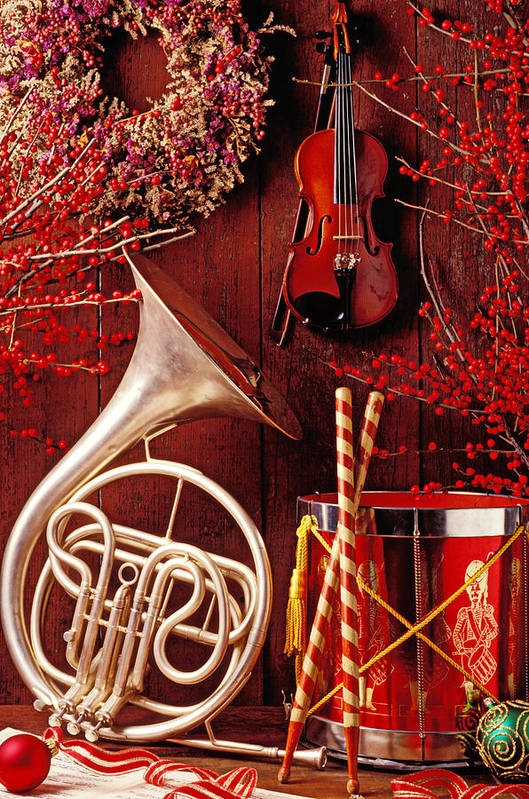 Violin Art Print featuring the photograph French Horn Christmas Still Life by Garry Gay