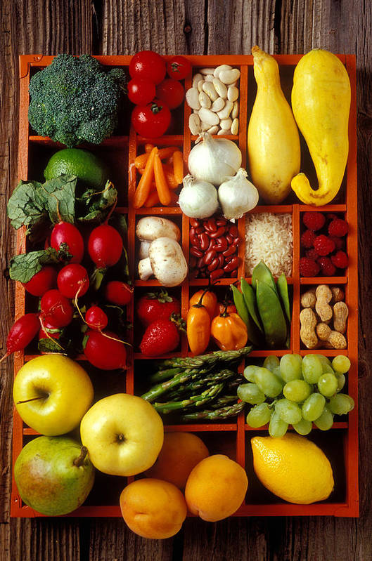 Fruits Vegetables Apples Grapes Compartments Art Print featuring the photograph Fruits And Vegetables In Compartments by Garry Gay