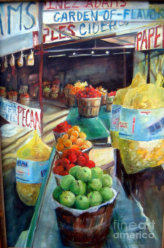 Fruit Art Print featuring the painting Fruitstand Rhythms by Linda Shackelford