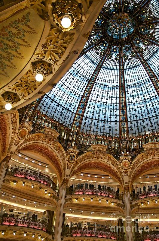 Paris Art Print featuring the photograph Gallery Lafayette Ceiling IIi by Louise Fahy