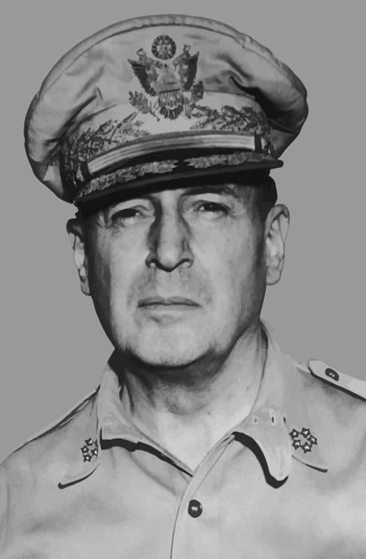 Douglas Macarthur Art Print featuring the painting General Douglas Macarthur by War Is Hell Store