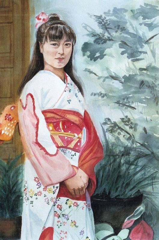 Japanese Girl In Kimono Art Print featuring the painting Girl In Kimono by Judy Swerlick