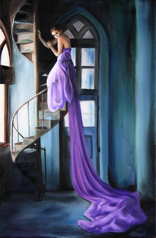Girl Art Print featuring the painting Girl On Staircase by Maryn Crawford