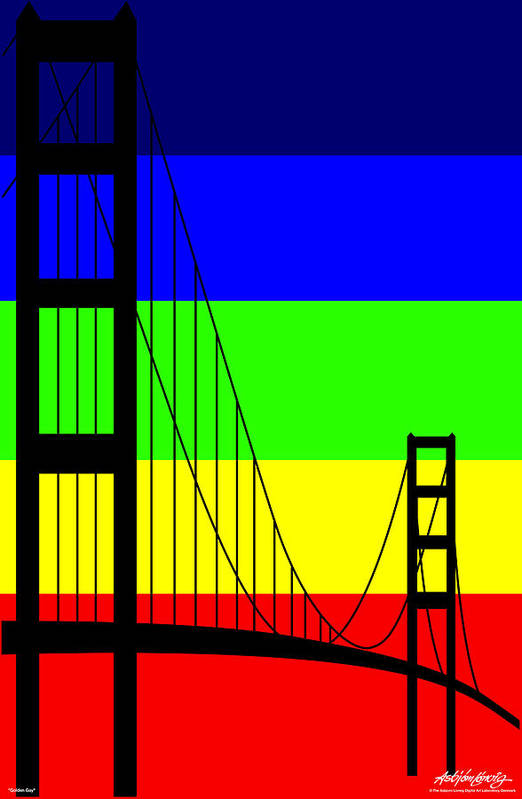 Golden Gate Art Print featuring the digital art Golden Gay by Asbjorn Lonvig