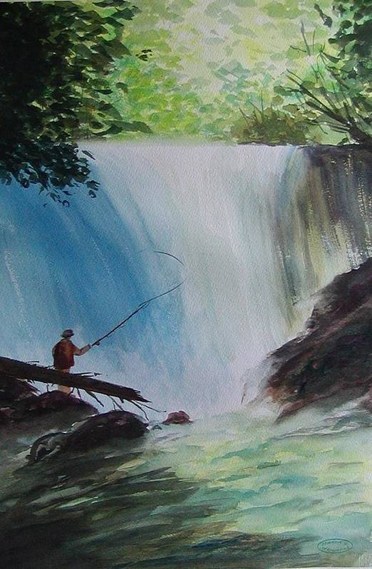 Fishing Landscape Art Print featuring the painting Gone Fishing by Sharon Steinhaus