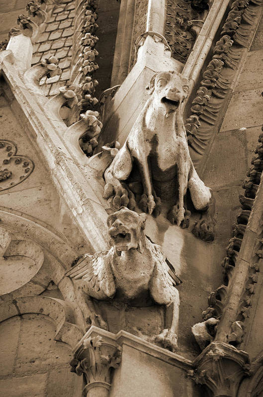 Gothic Gargoyles On Exterior Of Notre Dame Cathedral In Paris France Sepia Art Print