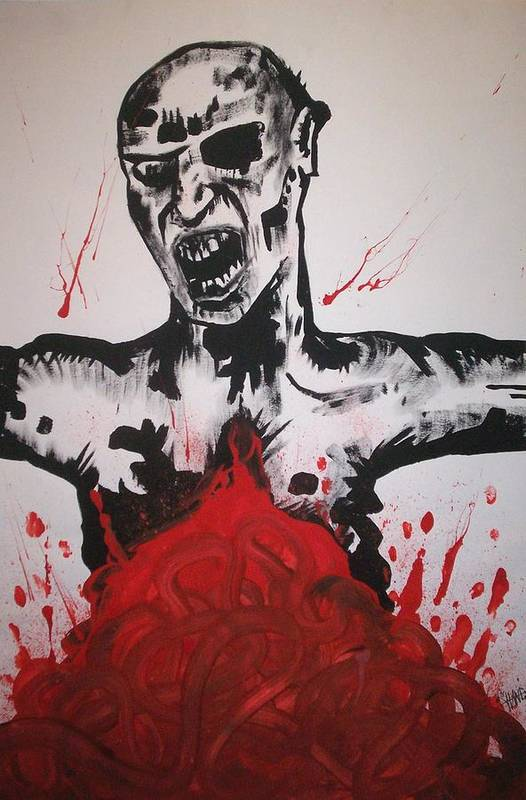 Zombie Art Print featuring the painting Gutted by Sam Hane