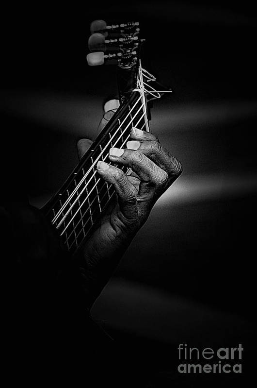 Guitar Art Print featuring the photograph Hand Of A Guitarist In Monochrome by Sheila Smart Fine Art Photography