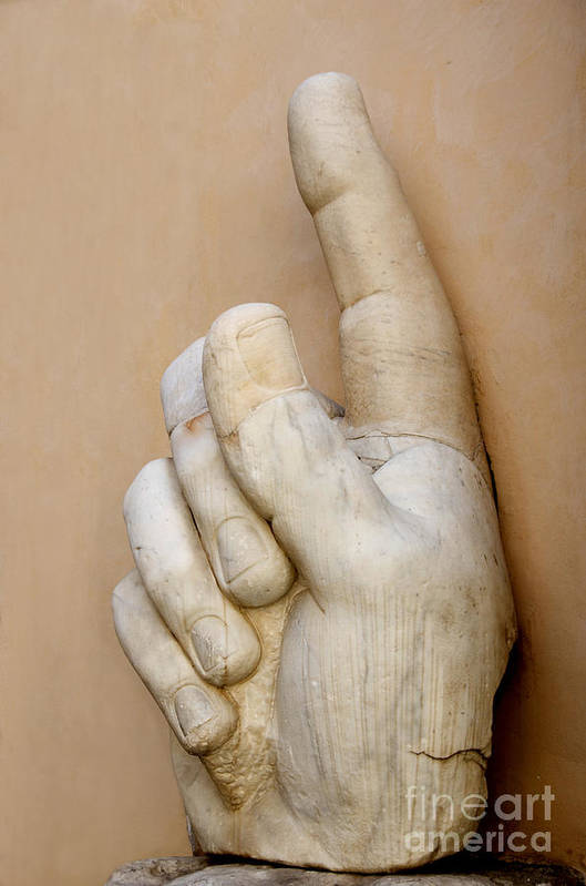 Works Art Print featuring the photograph Hand With Pointing Index Finger. Statue Of Constantine. Palazzo Dei Conservatori. Capitoline Museums by Bernard Jaubert