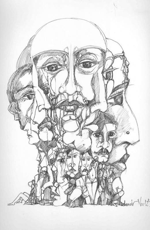 Surreal Art Print featuring the drawing Heads by Padamvir Singh