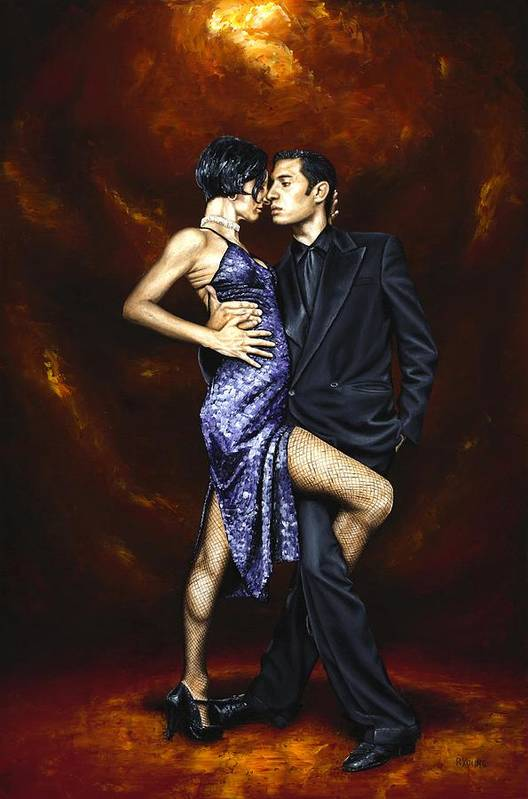 Tango Dancers Love Passion Female Male Woman Man Dance Art Print featuring the painting Held In Tango by Richard Young