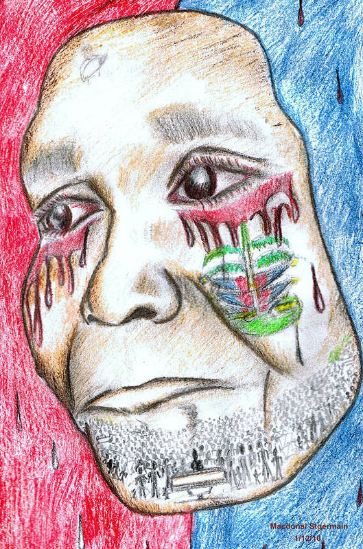 Haiti Art Print featuring the drawing Help Haiti For A Better Future by HPrince De Artist
