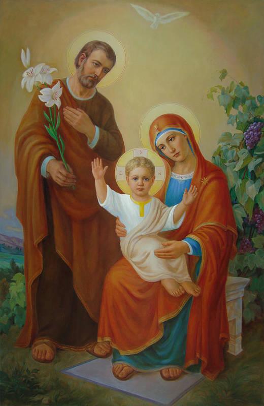 Jesus Art Print featuring the painting Holy Family With The Vine Tree by Svitozar Nenyuk
