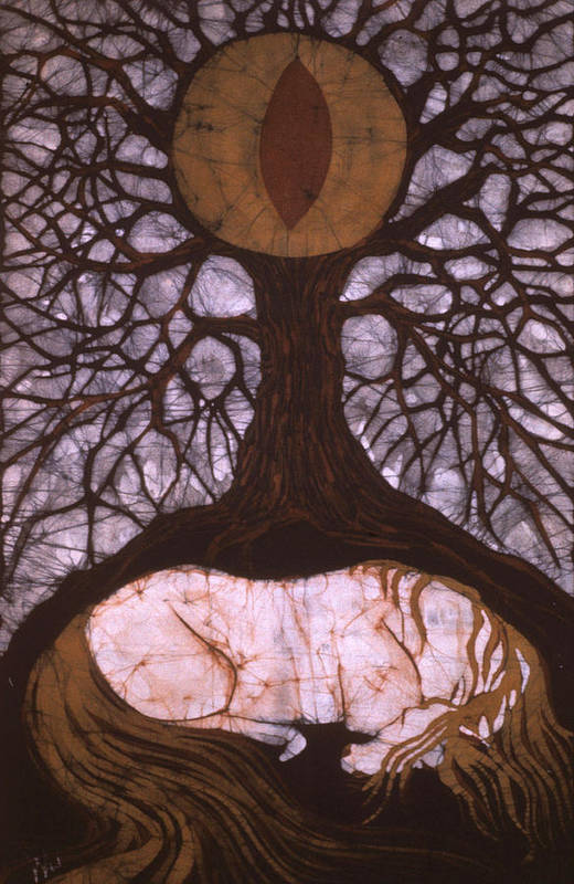 Horse Art Print featuring the tapestry - textile Horse Sleeps Below Tree Of Rebirth by Carol Law Conklin
