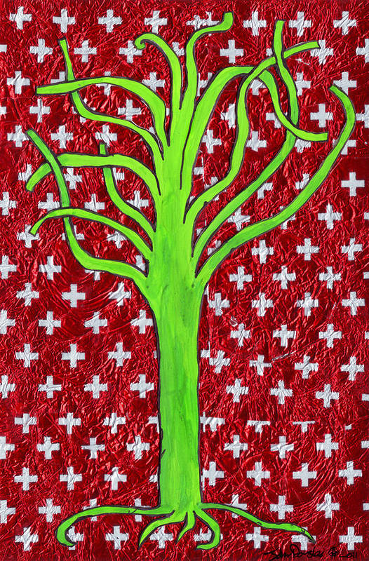 Tree Art Print featuring the mixed media I Fell Without A Word Being Spoken by John Douglas