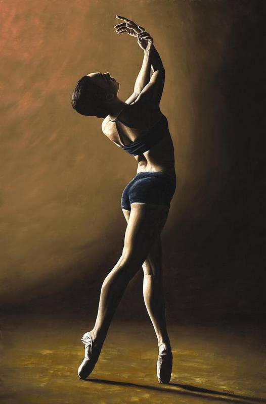 Dance Dancer Dancing Modern Female Woman Lady Girl Pointe Shadow Light Beauty Beautiful Young Art Art Print featuring the painting Inner Sanctuary by Richard Young