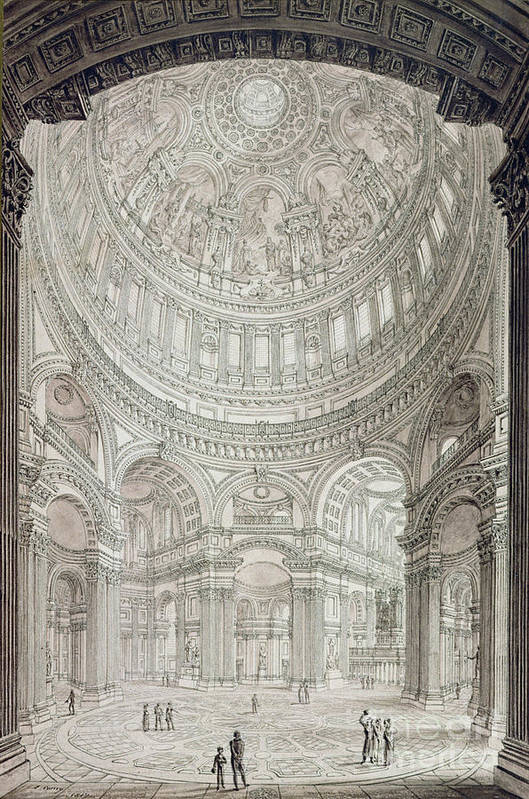 Church; Architecture; Dome; Baroque; Christopher Wren Art Print featuring the drawing Interior Of Saint Pauls Cathedral by John Coney