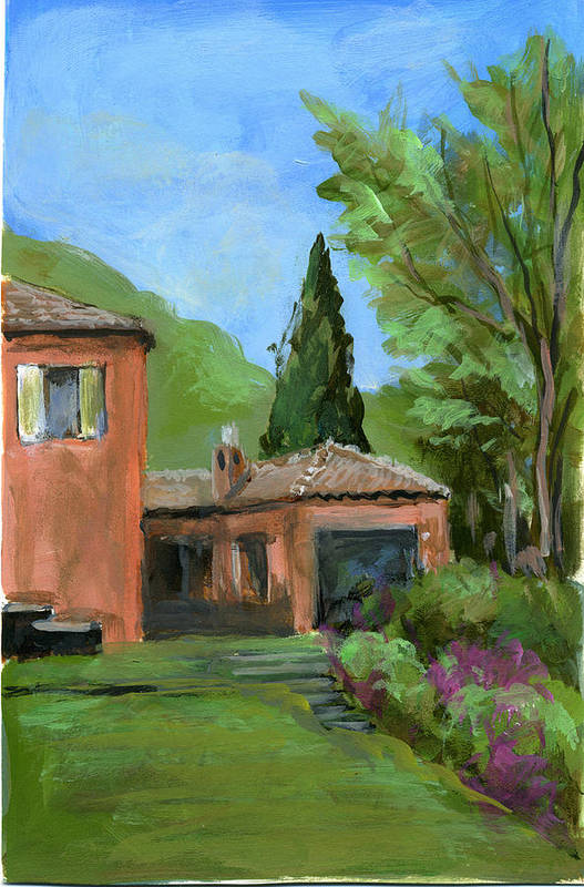Landscape Art Print featuring the painting Italy001 Somewhere In Sicily by Silvana Siudut