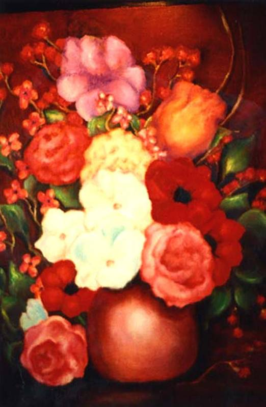 Flowers Art Print featuring the painting Jewel Flowers by Jordana Sands