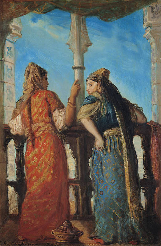 Jewish Art Print featuring the painting Jewish Women At The Balcony In Algiers by Theodore Chasseriau