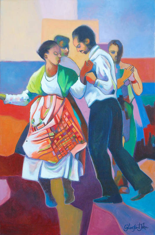 Dance Art Print featuring the painting Jing Ping Dance by Glenford John