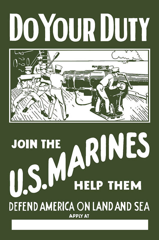 Marine Art Print featuring the painting Join The Us Marines by War Is Hell Store