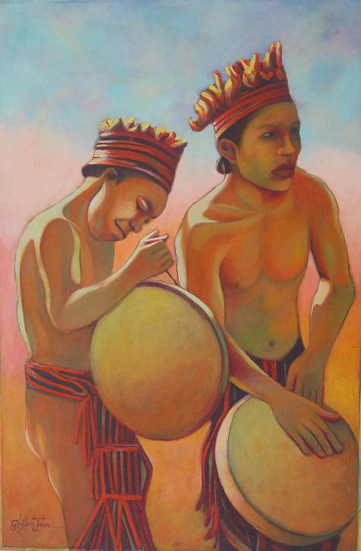 Caribs Art Print featuring the painting Kalinago Rhythm by Glenford John