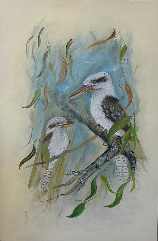 Birds Art Print featuring the painting King Of The Woods by Rita Palm