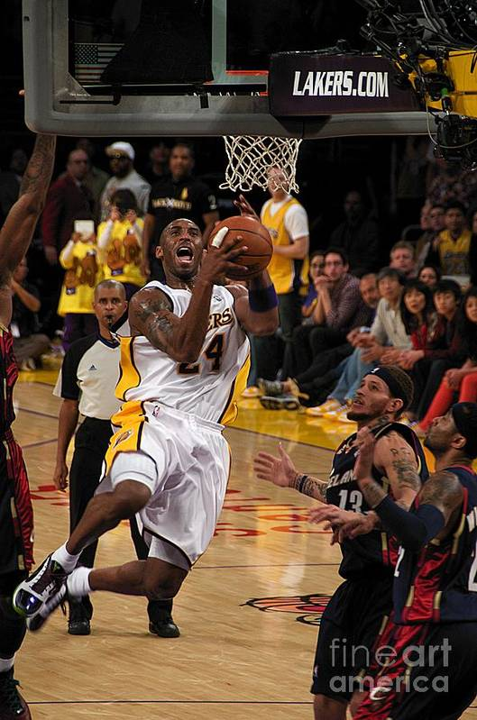 Lakers Art Print featuring the photograph Kobe by Marc Bittan