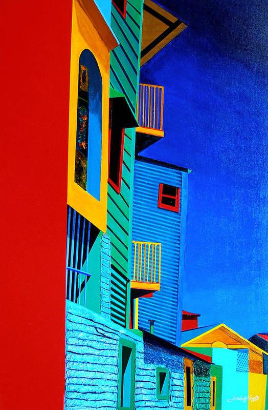 La Boca Art Print featuring the painting La Boca Street Scene Twelve by JoeRay Kelley