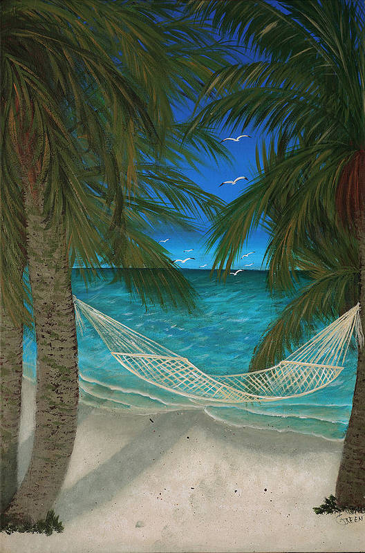 Hammock Art Print featuring the painting Lazy Days Of Summer by Darlene Green
